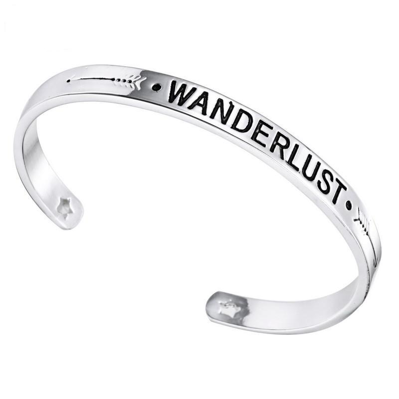 Engraved WANDERLUST Unique Bracelet
