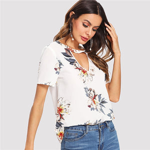 Keira Cut Out Floral Blouse