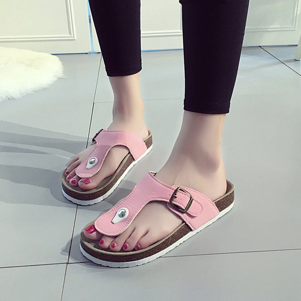 Casual Buckle Leather Flipflops