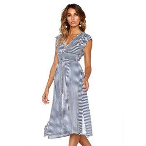 Arielle Pinstripe Midi Dress