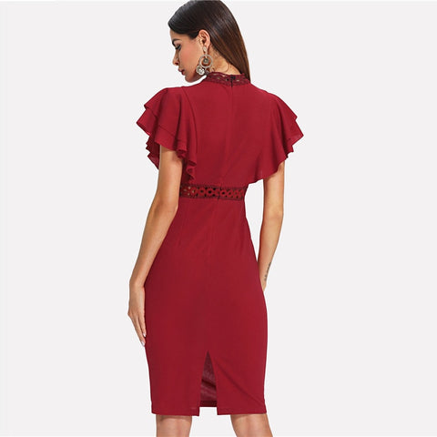 Fiona Burgundy Bodycon Dress