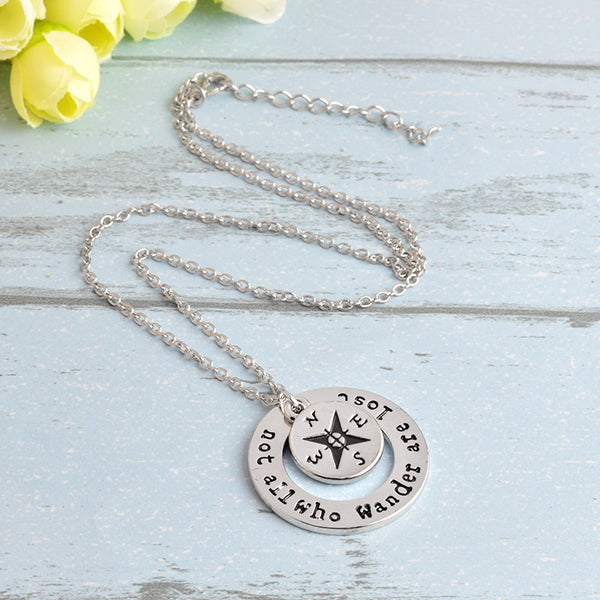 """Not All Who Wander Are Lost"" Travelers Necklace"