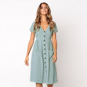 Alessandra Button Midi Dress
