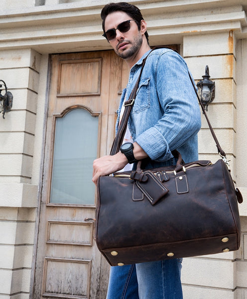 Men's Genuine Leather Duffel Bag