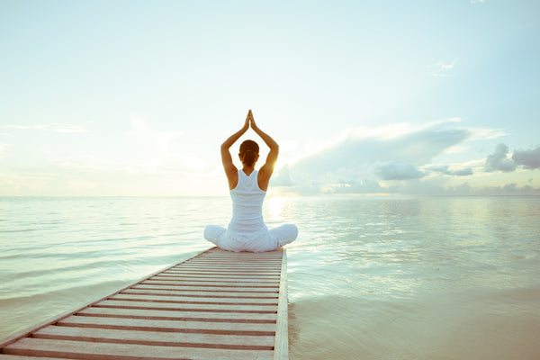 woman relaxing with serene background