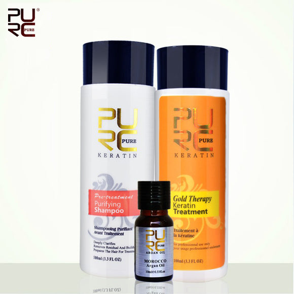 3pcs/set Pure Brazilian Keratin Hair Treatment + Purifying Shampoo+Argan Oil