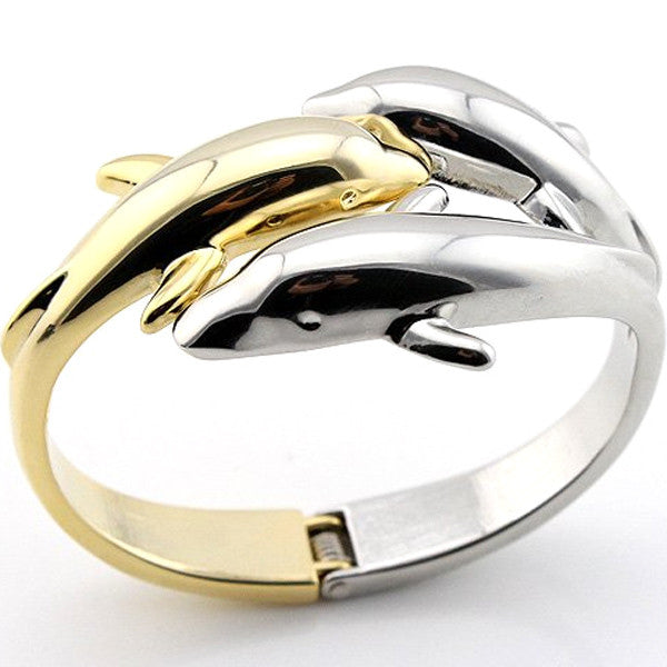 Three Dolphin Kiss Bangle, [TopTrends_4U]
