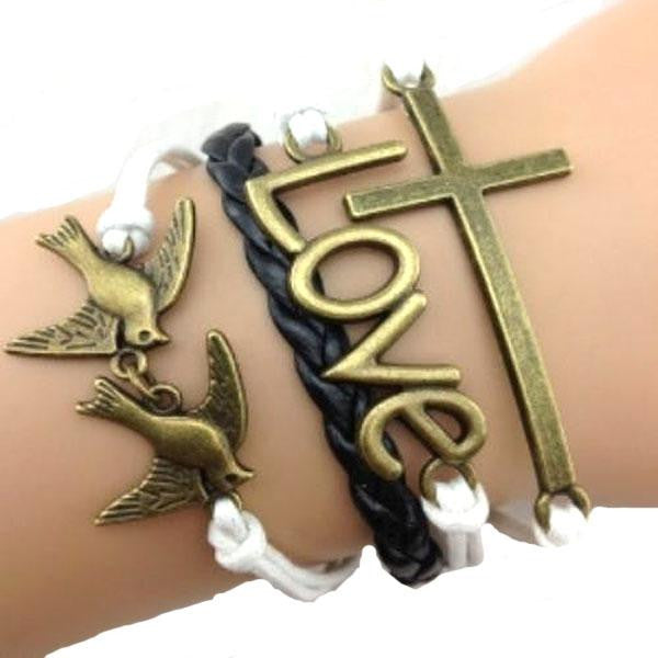 Golden Faith Bird Love Cross Bracelet, [TopTrends_4U]