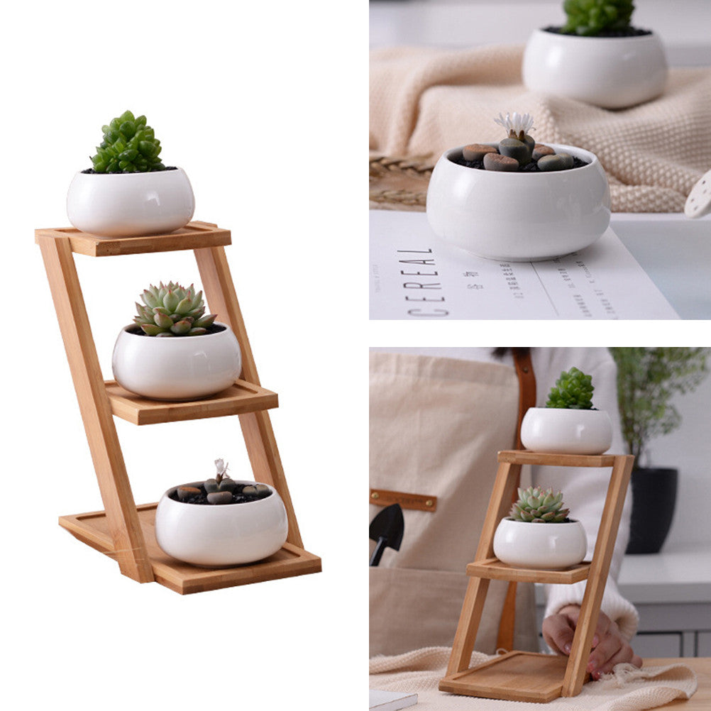 Pots with Bamboo Tray, [TopTrends_4U]