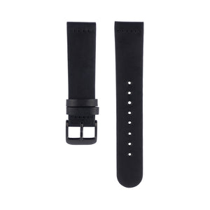 Black leather Hervor watch straps with black buckle