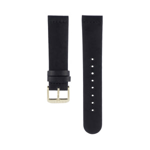 Black leather Hervor watch straps with gold buckle