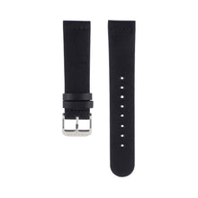 Load image into Gallery viewer, Black leather Hervor watch straps with silver buckle