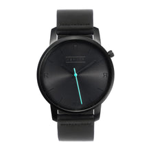 Load image into Gallery viewer, All black Hervor watch with black leather strap and a turquoise accent second hand