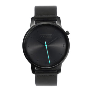 All black Hervor watch with black leather strap and a turquoise accent second hand
