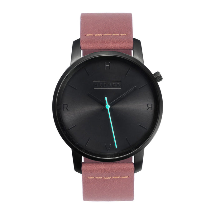 All black Hervor watch with dusty rose dark pink leather strap and a turquoise accent second hand