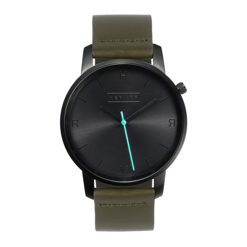 All black Hervor watch with olive khaki green leather strap and a turquoise accent second hand