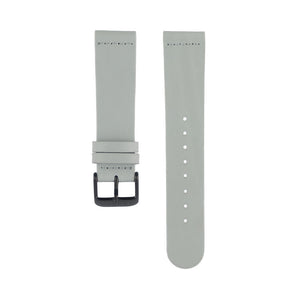 Dove grey leather Hervor watch straps with black buckle