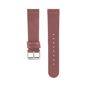 Dusty rose dark pink leather Hervor watch straps with silver buckle