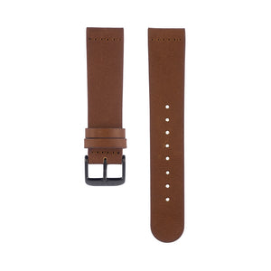 Fox brown leather Hervor watch straps with black buckle