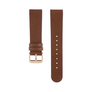Fox brown leather Hervor watch straps with rose gold buckle