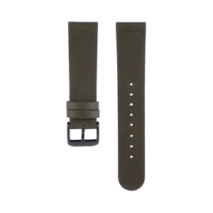 Olive khaki green leather Hervor watch straps with black buckle