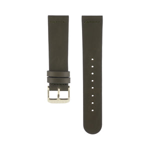 Olive khaki green leather Hervor watch straps with gold buckle