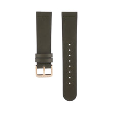 Load image into Gallery viewer, Olive khaki green leather Hervor watch straps with rose gold buckle