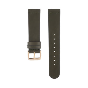 Olive khaki green leather Hervor watch straps with rose gold buckle