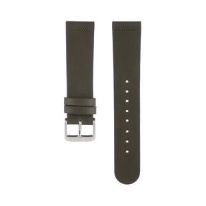 Olive khaki green leather Hervor watch straps with silver buckle