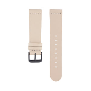 Light pink skin tone leather Hervor watch straps with black buckle