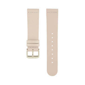 Light pink skin tone leather Hervor watch straps with gold buckle
