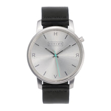 Load image into Gallery viewer, All silver Hervor watch with black leather strap and a turquoise accent second hand