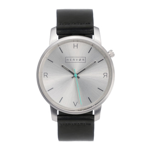 All silver Hervor watch with black leather strap and a turquoise accent second hand