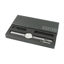 Load image into Gallery viewer, Silver Hervor watch in black packaging includes strap adjustment tool