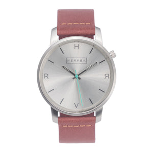 All silver Hervor watch with dusty rose dark pink leather strap and a turquoise accent second hand