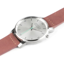 Load image into Gallery viewer, All silver Hervor watch with dusty rose dark pink leather strap and a turquoise accent second hand