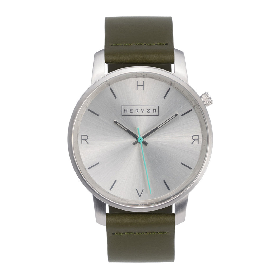 All silver Hervor watch with olive khaki green leather strap and a turquoise accent second hand