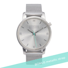 Load image into Gallery viewer, All silver Hervor watch with silver metallic mesh strap and a turquoise accent second hand