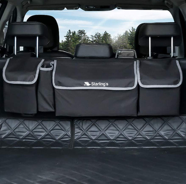Starling's Car Trunk Organizer - Durable Storage SUV Cargo Organizer, Seat Back Storage Organizer Frees up Your Trunk Floor, Black