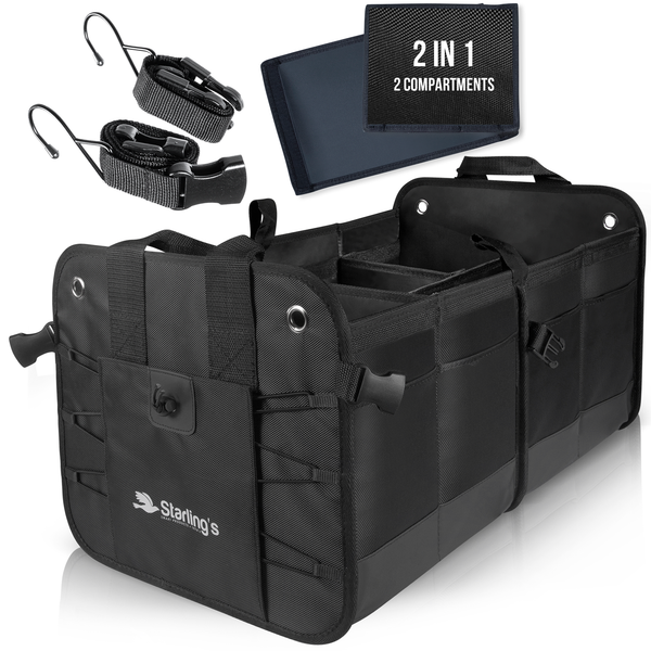 Starling's Car Trunk Organizer - Durable Storage SUV Cargo Organizer Adjustable , Black [List Price $79.99] [Sale Price $39.97]