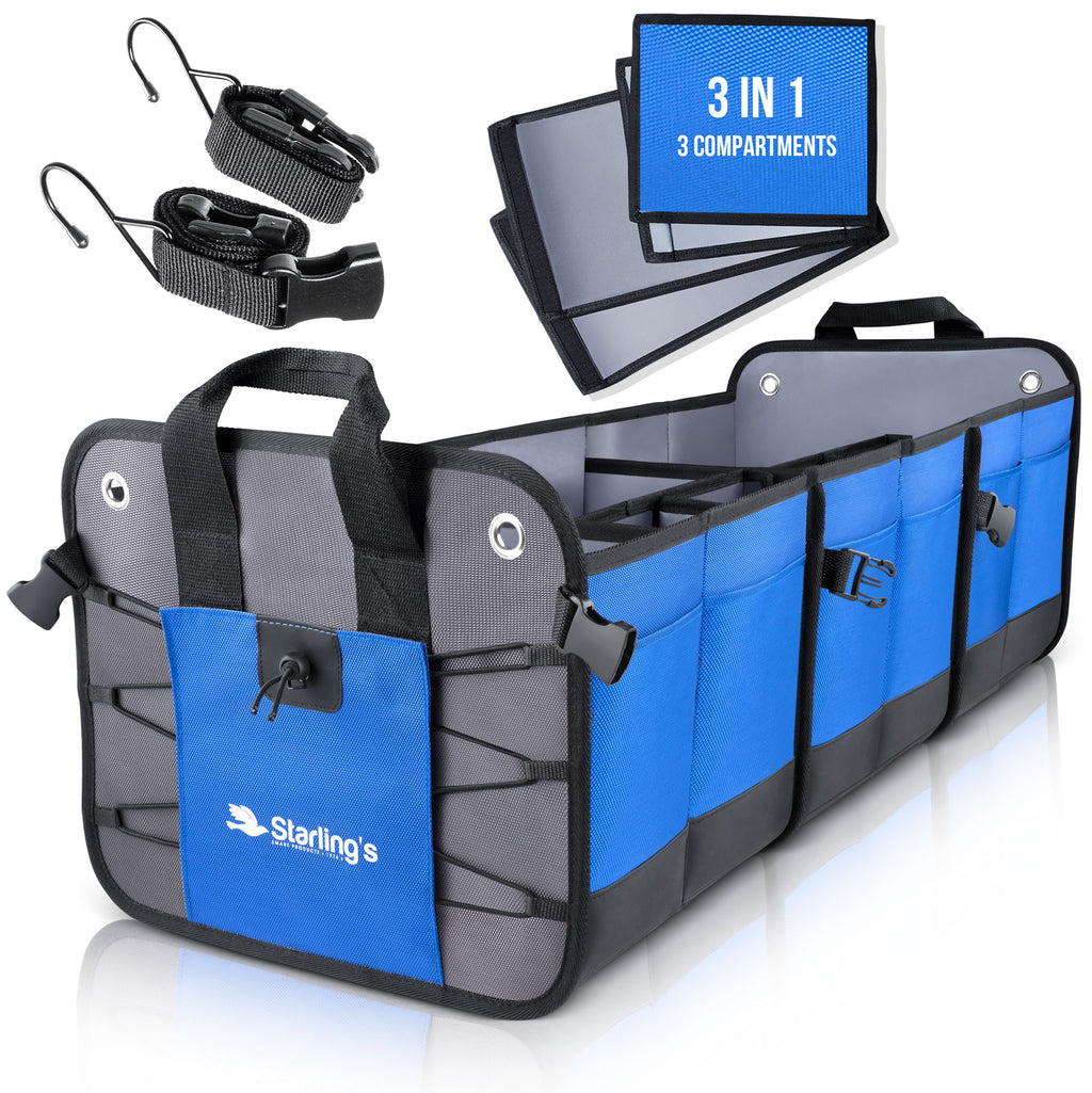Starling's Car Trunk Organizer - Durable Storage SUV Cargo Organizer Adjustable, Blue [List Price $129.99]