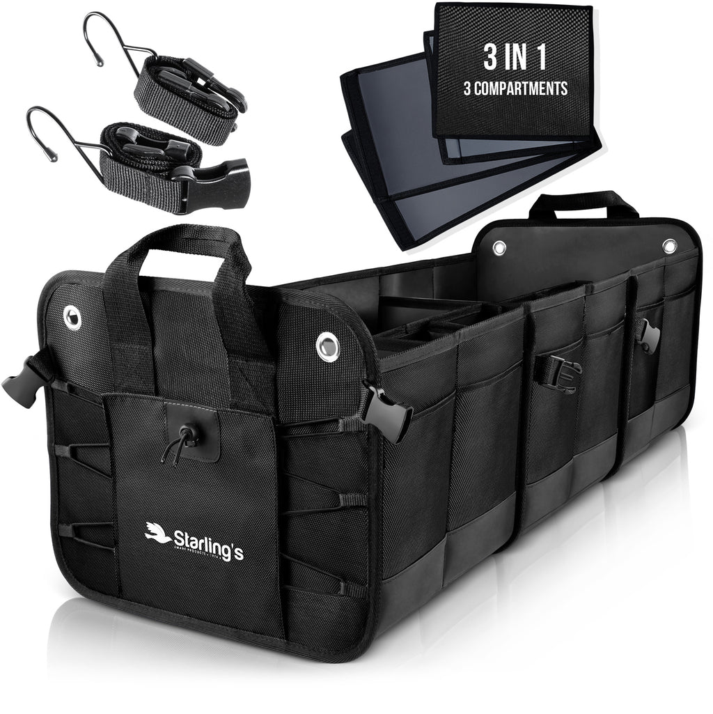 Starling's Car Trunk Organizer - Durable Storage SUV Cargo Organizer Adjustable, Black [List Price $129.99]