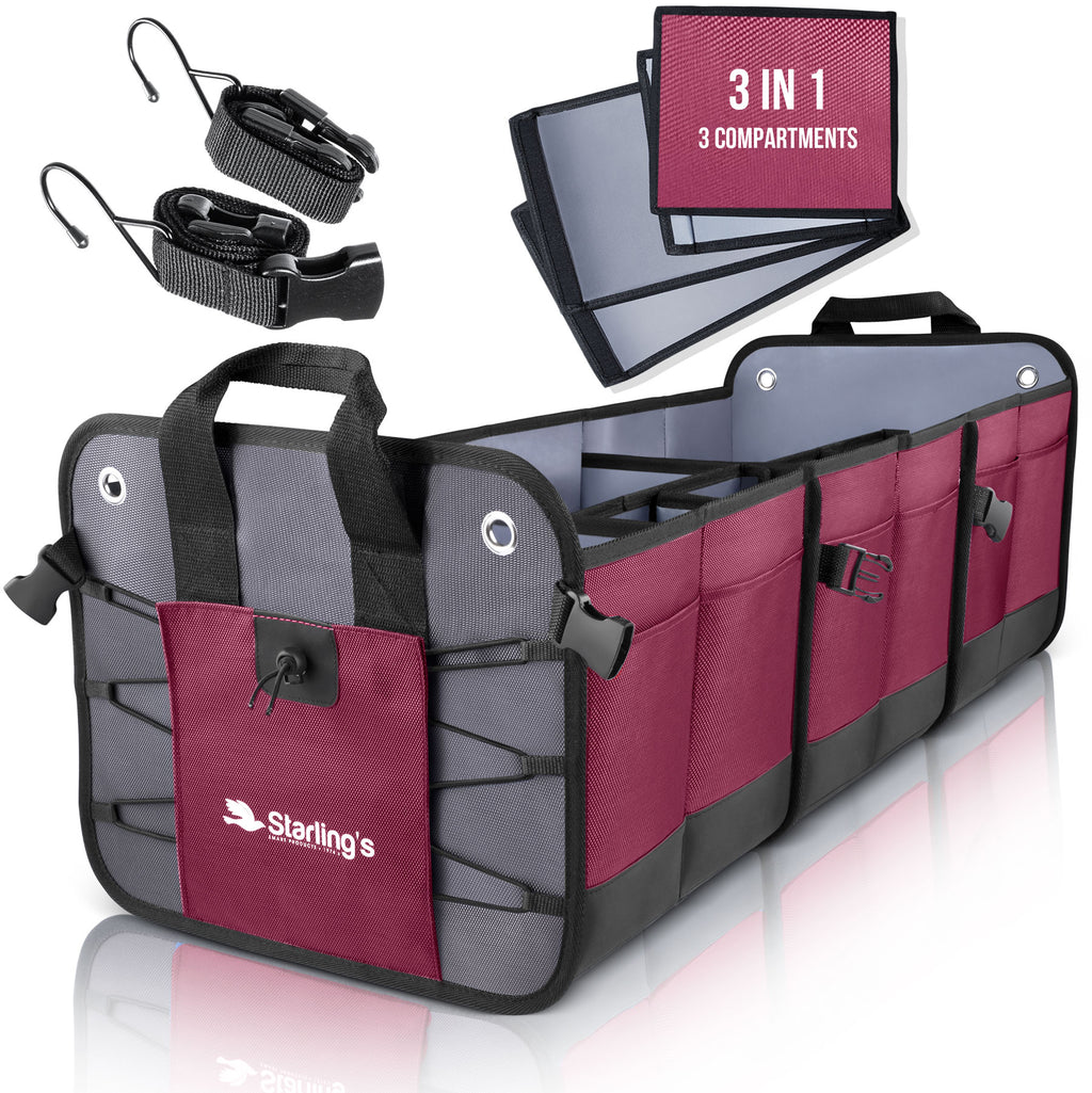 Starling's Car Trunk Organizer - Durable Storage SUV Cargo Organizer Adjustable, Bordeaux [List Price $129.99]