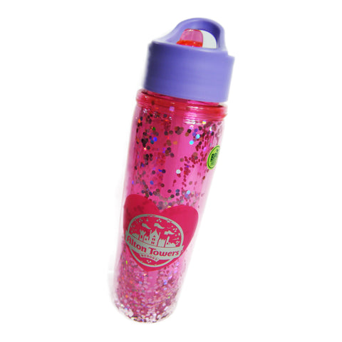 Alton Towers Pink Glitter Water Bottle
