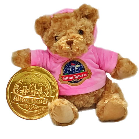 Alton Towers Pink Hoody Bear & Chocolate Coin