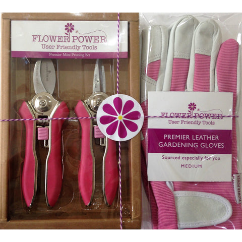 Ladies Leather Garden Glove and Mini Pruner Secateurs Set. Best Gardening Gift for Women.