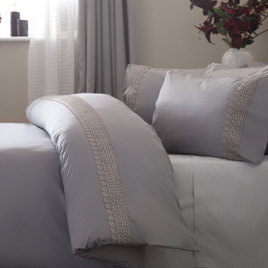Belledorm Aria Intricate Lace Trim Grey Duvet Cover Set