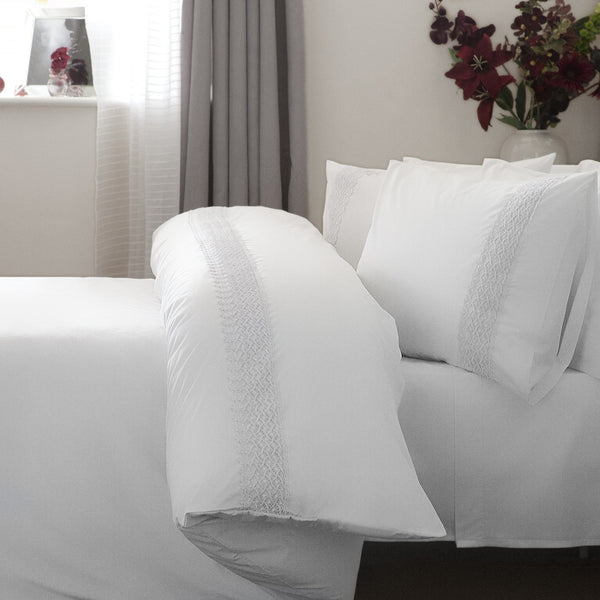 Belledorm Aria Intricate Lace Trim White Duvet Cover Set
