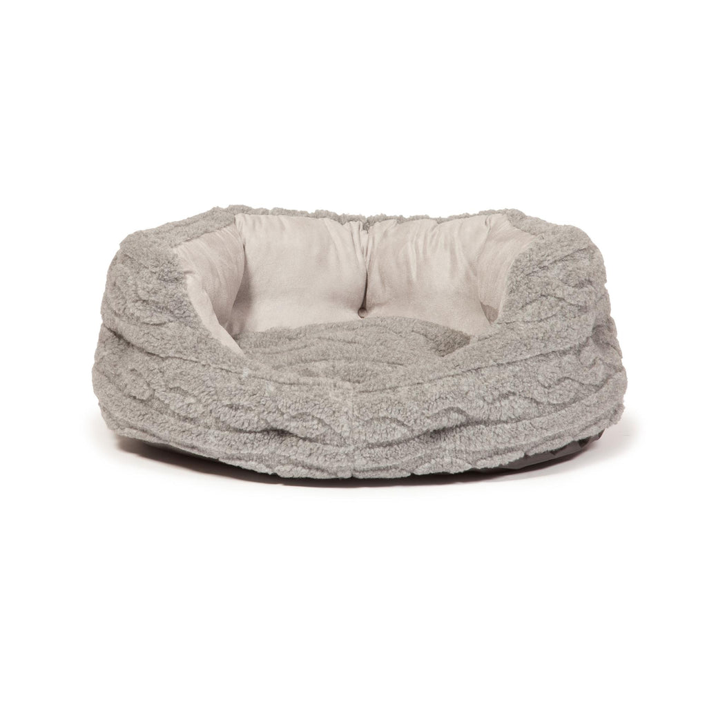 Danish Design Bobble Cable Knit Slumber Bed Pewter Grey