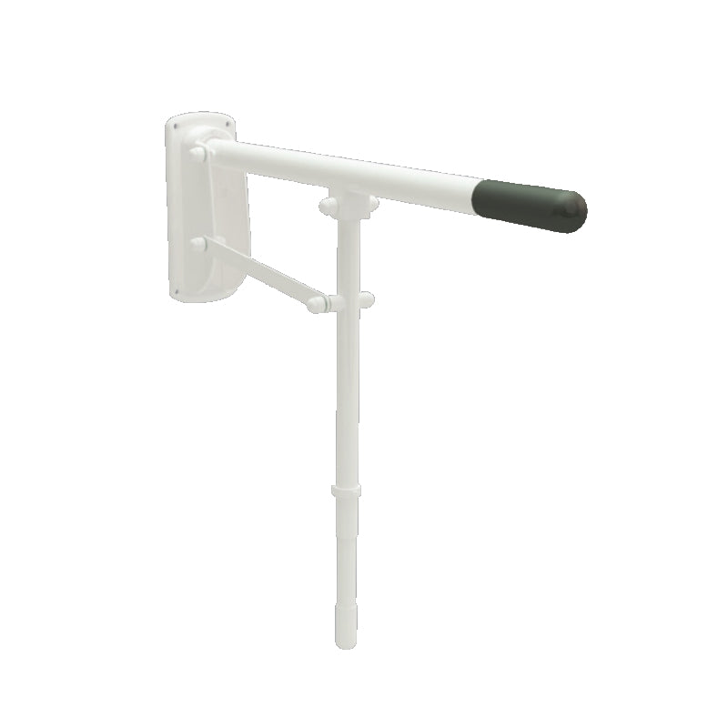 "Single Arm Drop Down Grab Rail 30"" Mild Steel White with Leg Support"